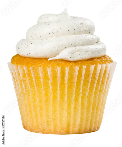 Photo  Vanilla Bean Cupcake Isolated