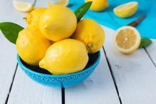 Lemons In Blue Bowl