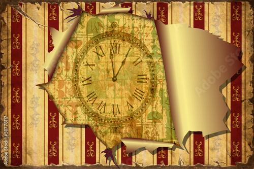 Papiers peints Affiche vintage 3D Aufgerissene Tapete - Uhrzeit