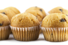 Close-up View Of Mini Chocolate Chip Muffins