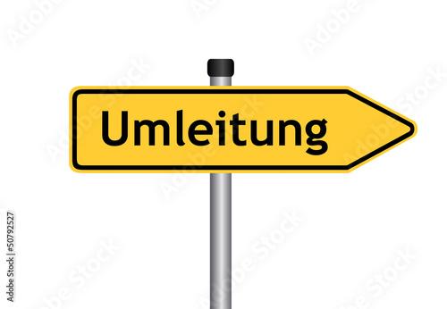 Fotografie, Obraz  Verkehrszeichen: Umleitungswegweiser