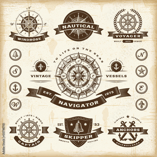 Fotografia  Vintage nautical labels set