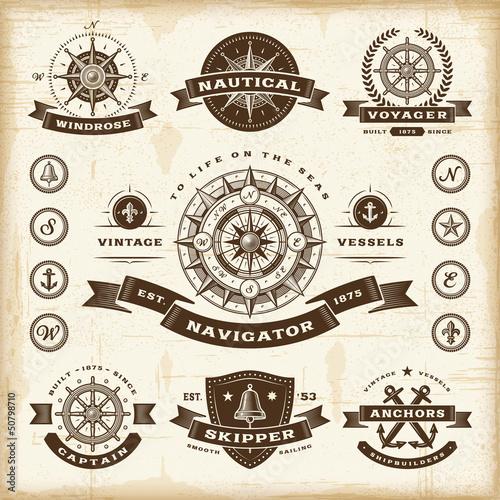 Fototapeta Vintage nautical labels set