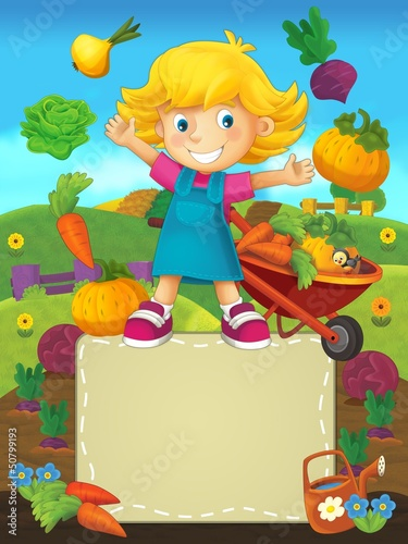 Poster de jardin Ferme On the farm - the happy illustration for the children