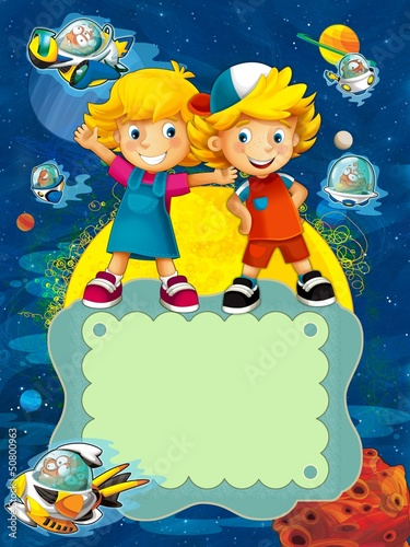 Garden Poster Cosmos The group of happy preschool kids