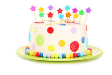 Colorful Birthday Cake With Decorations