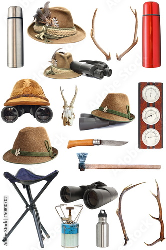 Fotobehang Jacht collection of hunting and outdoor equipment