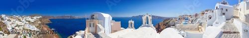 Fototapeta Panorama of Oia village on Santorini island, Greece obraz