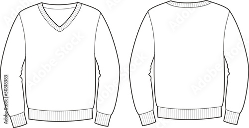 Платно Vector illustration of jumper. Front and back views