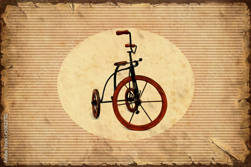 Foto op Plexiglas Vintage Poster Retroplakat - Dreirad