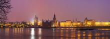 Panoramic Charles Bridge In Prague At Night