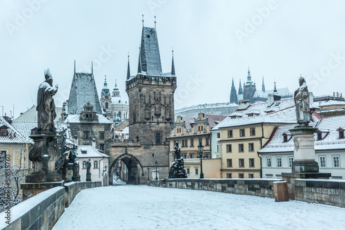 Printed kitchen splashbacks Prague Snow Covered Charles Bridge in Prague