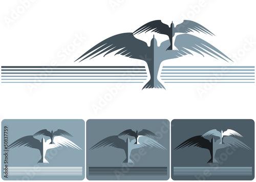 Slika na platnu Symbolic image of two birds.