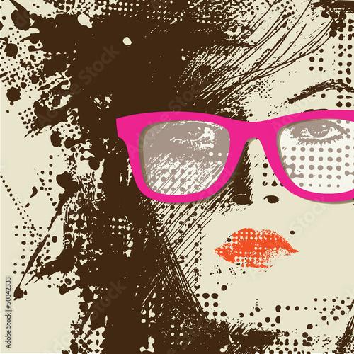 Foto op Canvas Vrouw gezicht Women in sunglasses