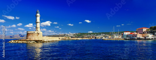 Foto op Plexiglas Donkerblauw Chania.Crete. Panorama with lighthouse