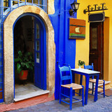 colorful greek streets, Chania, Crete
