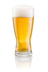 Fototapeta Glass of fresh beer with cap of foam isolated on white backgroun