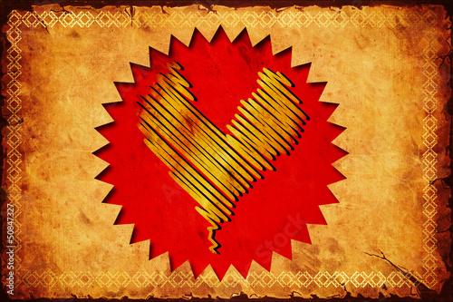 Foto op Plexiglas Vintage Poster Retroplakat - Goldenes Herz