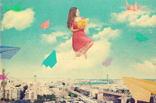 art collage with beautiful woman, retro style, fantasy - 50850793
