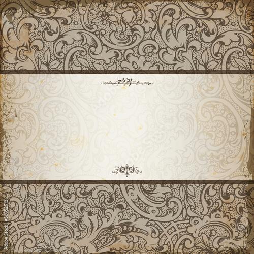 Papiers peints Affiche vintage Vintage elegant invitation card with floral background