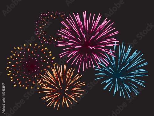 Canvas Print Realistic Vector fireworks