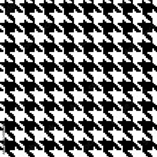 Photo  Black and White Hounds Tooth Fabric Background