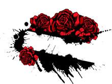 Red Roses And Splatter Design ...