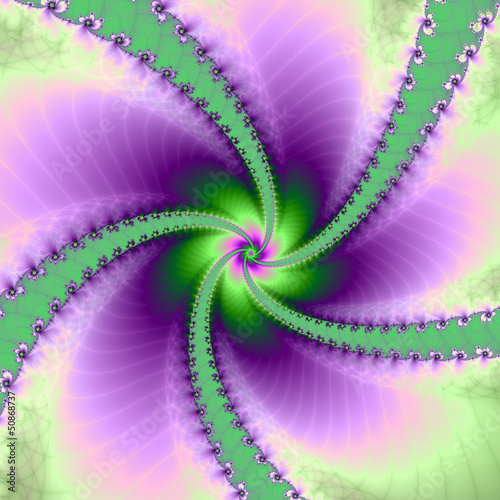 Wall Murals Psychedelic Green and Purple Whirligig