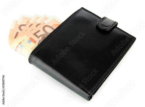 Fotografía  Euro in wallet isolated on white