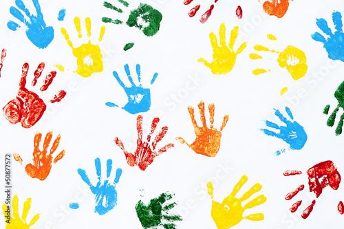 Fotografie, Obraz  Prints of hands of child