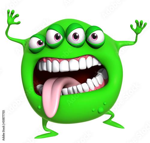 Poster de jardin Doux monstres 3d cartoon green monster