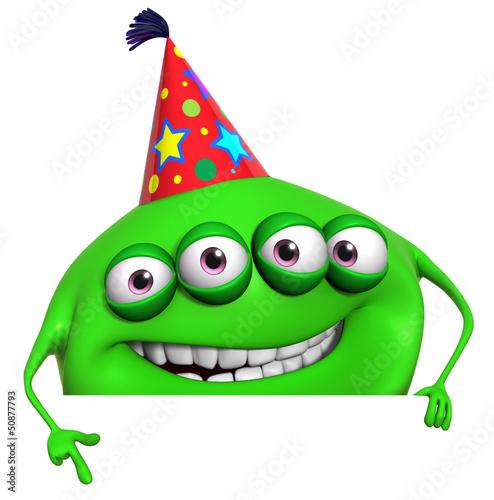 Poster de jardin Doux monstres 3d cartoon green birthday monster