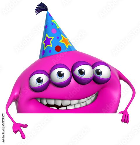 Poster de jardin Doux monstres 3d cartoon pink birthday monster