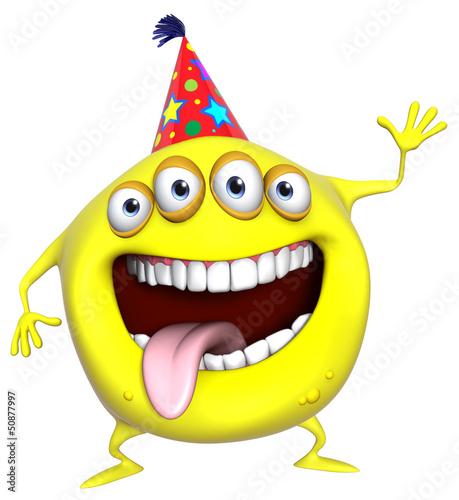 Poster de jardin Doux monstres 3d cartoon yellow birthday monster