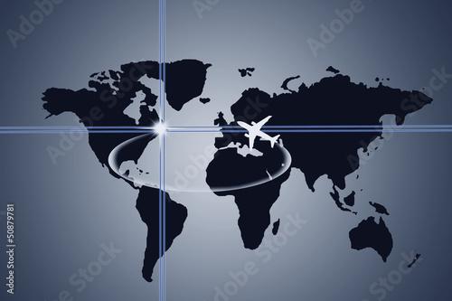 mapa mundial con avión