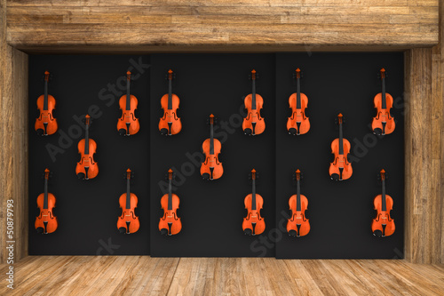 Poster Muziekwinkel Violins hung on the wall