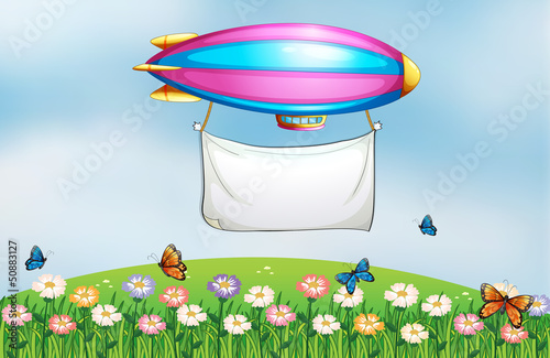 Canvas Prints Butterflies An aircraft above the garden with a banner
