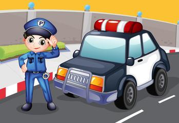 Policajac i njegov patrolni automobil
