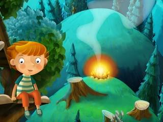 Bajke crtanje djeteta u šumi