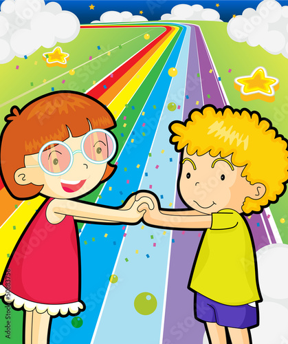 Poster Regenboog A colorful road with a girl and a boy holding hands