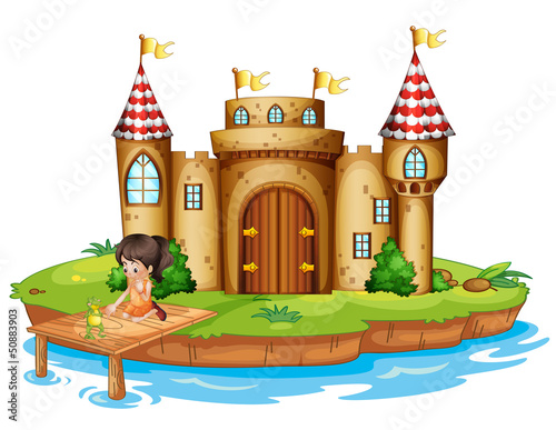 Poster Castle A girl sitting with a frog in front of a castle