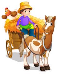 Farmer koji se vozi u svojim drvenim kolima s konjem i piletinom