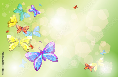 Deurstickers Vlinders A stationery with colorful butterflies