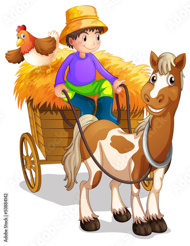Photo sur Toile Ferme A farmer riding in his wooden cart with a horse and a chicken