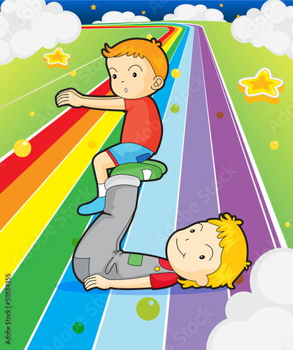 In de dag Regenboog Two boys playing at the colorful road