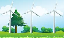 The Three Windmills Above The Hills