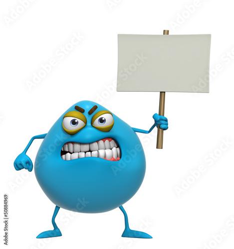 Garden Poster Sweet Monsters 3d cartoon cute blue monster holding placard