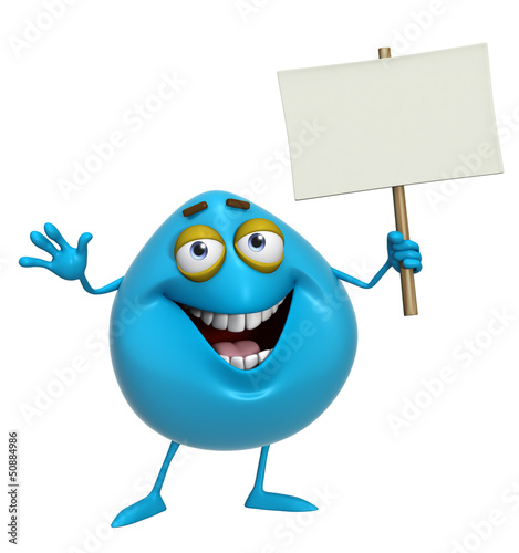 Photo Stands Sweet Monsters 3d cartoon cute blue monster holding placard