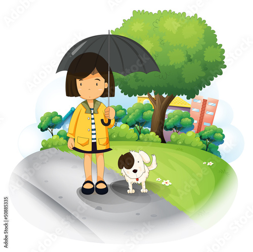 Poster Dogs A girl with an umbrella and a puppy at the road