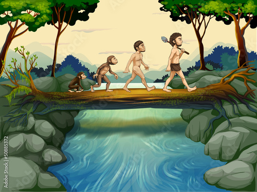 Canvas Prints River, lake The evolution of man at the river